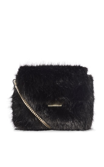 Karen Millen, FAUX FUR CHAIN BAG Black 0