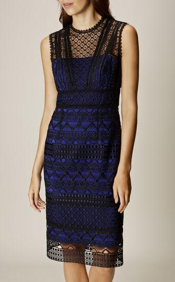Karen Millen, GRAPHIC LACE PENCIL DRESS Black/Multi 2