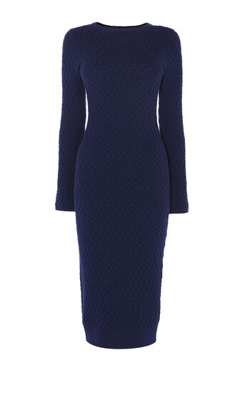 Karen Millen, CABLE-KNIT DRESS Navy 0