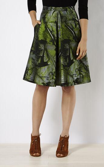 Karen Millen, PALM-LEAF JACQUARD SKIRT Green/Multi 2