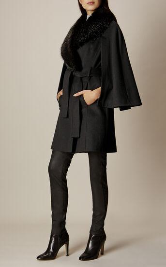 Karen Millen, BELTED CAPE Black 1
