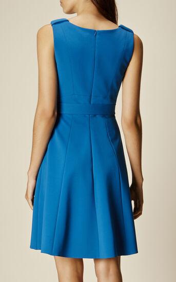 Karen Millen, ASYMMETRIC FLARED DRESS Blue 3