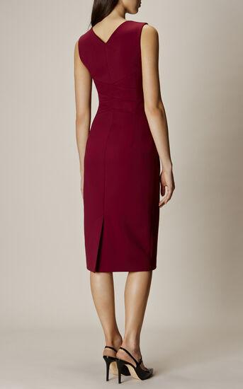 Karen Millen, SQUARE NECKLINE PENCIL DRESS Aubergine 3
