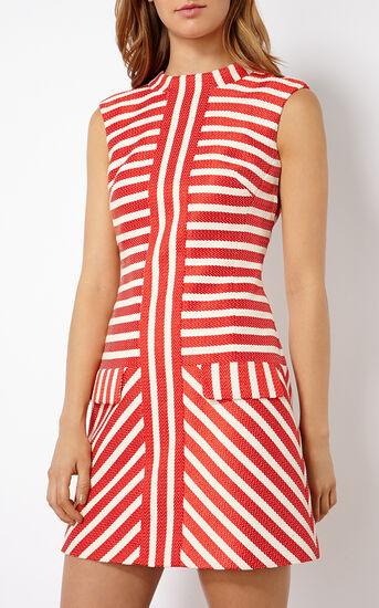 Karen Millen, STRIPED TWEED SHIFT DRESS Red/Multi 2