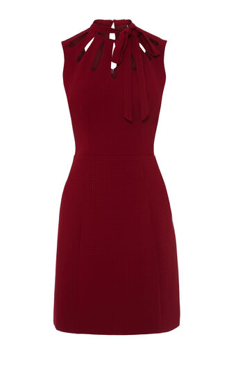 Karen Millen, TIE NECK DETAIL JACQUARD DRESS Dark Red 0