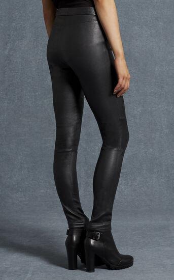 Karen Millen, BLACK LEATHER LEGGINGS Black 3