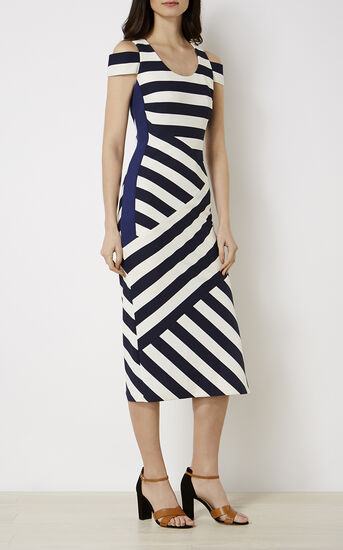 Karen Millen, STRIPED MIDI DRESS Blue/Multi 1