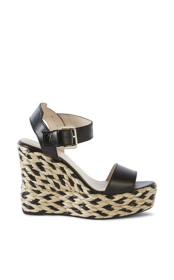 Karen Millen, LEATHER ESPADRILLE WEDGE Black 0
