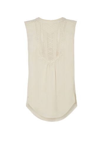 Karen Millen, LACE-PANELLED TOP Neutral 0
