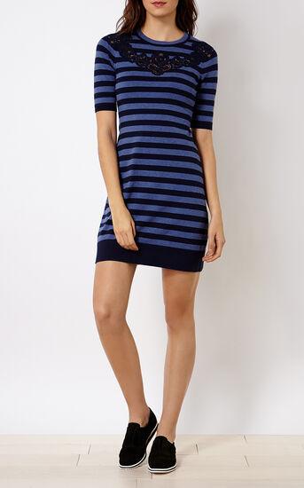 Karen Millen, KNITTED STRIPE DRESS Blue 1
