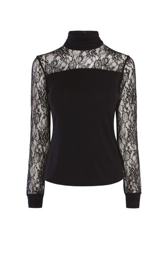 Karen Millen, HIGH NECK LACE TOP Black 0