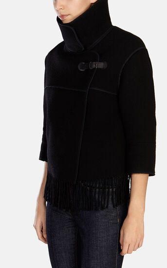 Karen Millen, WOOL FRINGED CAPE Black 2