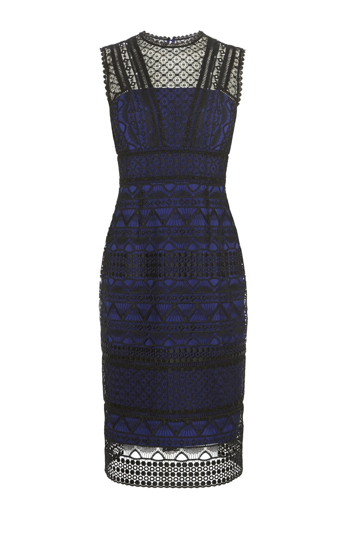 Karen Millen, GRAPHIC LACE PENCIL DRESS Black/Multi 0