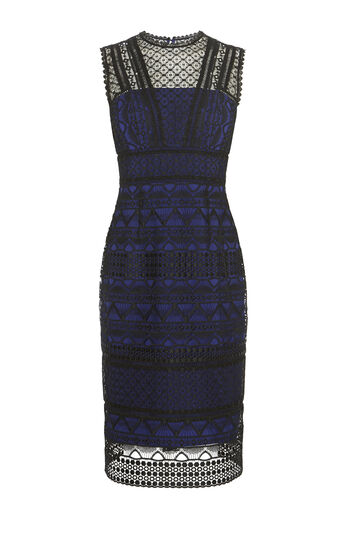 Karen Millen, GRAPHIC LACE PENCIL DRESS Black/Multi 0