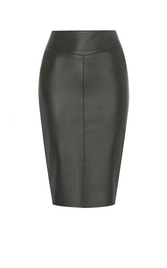 Karen Millen, FAUX-LEATHER PENCIL SKIRT Black 0