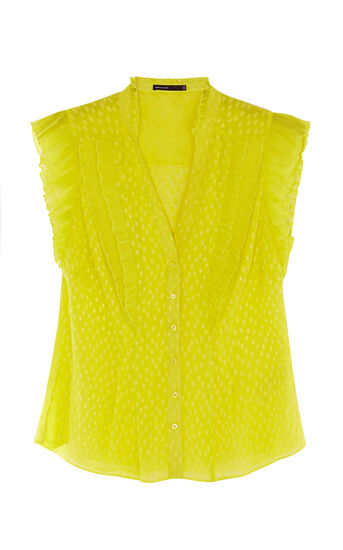 Karen Millen, PLEATED RUFFLE BLOUSE Lime 0