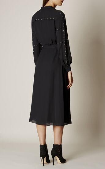 Karen Millen, STUDDED SHIRT DRESS Black 3