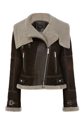 Karen Millen, SHEARLING AVIATOR JACKET Brown 0