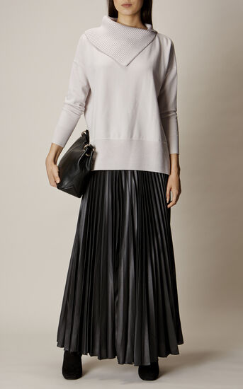 Karen Millen, WETLOOK PLEAT MAXI SKIRT Black 1