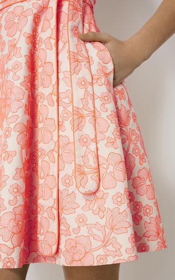 Karen Millen, FLORAL JACQUARD DRESS Red/Multi 4