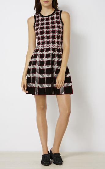 Karen Millen, GRAPHIC HOUNDSTOOTH DRESS Black/Multi 1