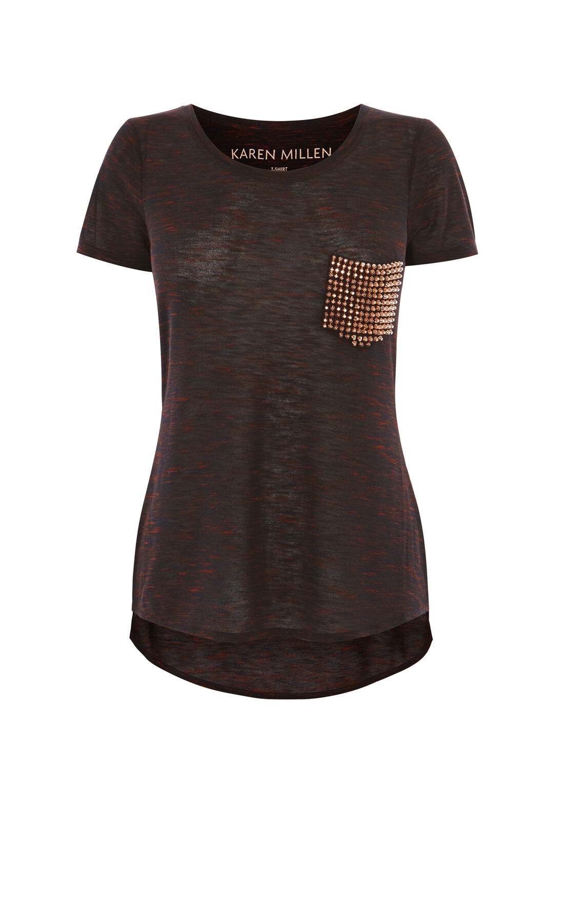 Karen Millen, STUDDED POCKET T-SHIRT Orange 0