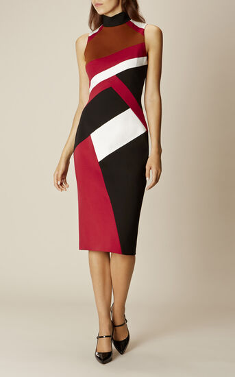Karen Millen, GRAPHIC-PANEL PENCIL DRESS Multicolour 1