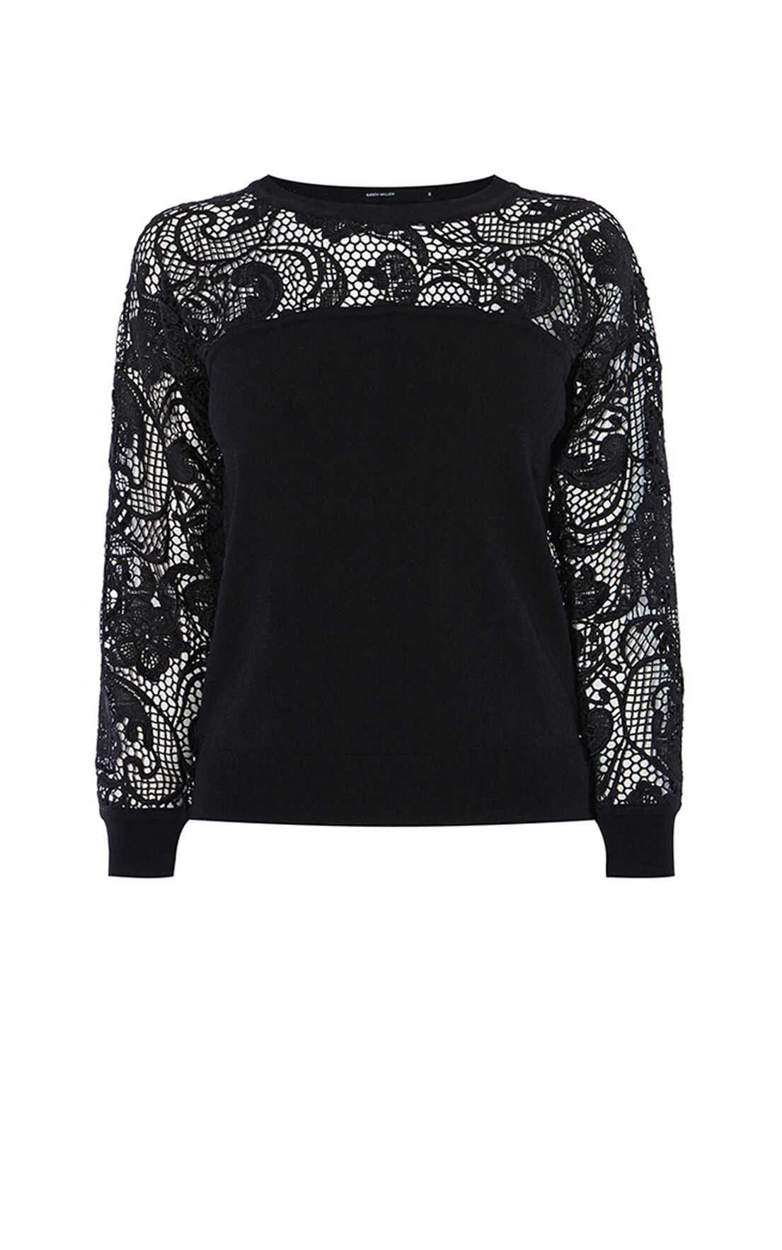 Karen Millen, LACE KNIT JUMPER Black 0
