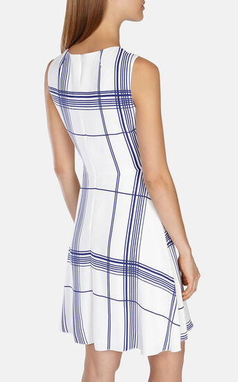 Karen Millen, FLUID CHECK PRINT DRESS White/Mult 3