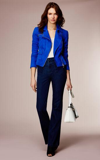 Karen Millen, COBALT-BLUE SUEDE BIKER JACKET Blue 1