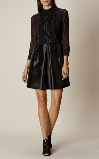 Karen Millen, RUFFLE-FRONT A-LINE DRESS Black 1