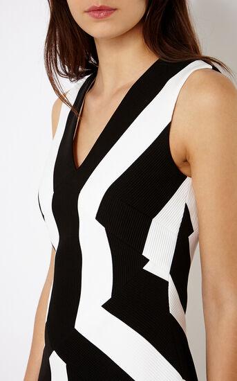 Karen Millen, STRIPED A-LINE DRESS Blk&Wht 4