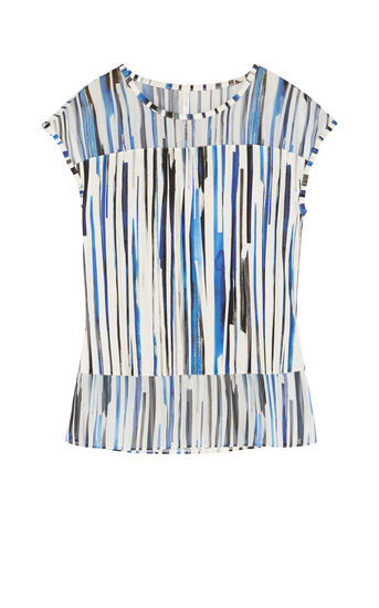 Karen Millen, STRIPED T-SHIRT Blue/Multi 0