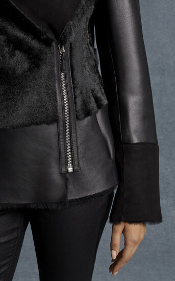 Karen Millen, BLACK SHEARLING JACKET Black 4