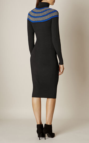 Karen Millen, CIRCLE YOKE DRESS Black/Multi 3
