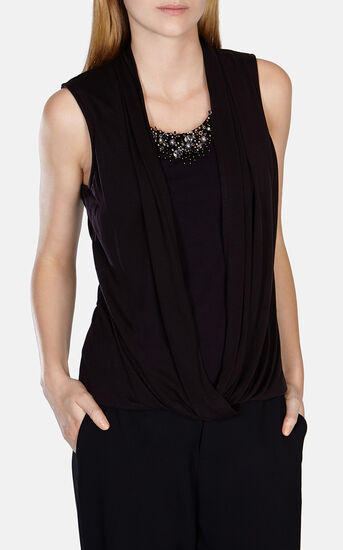 Karen Millen, BEAD EMBELLISHED DRAPED TOP Black 2