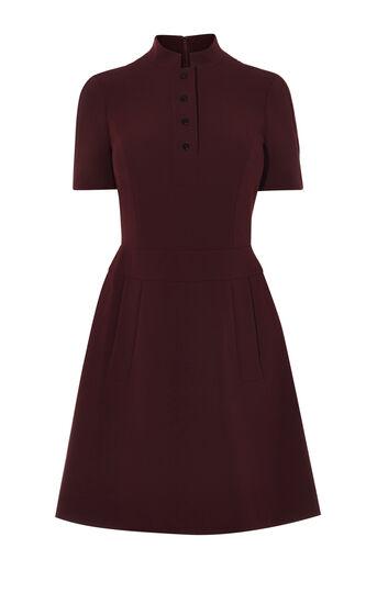Karen Millen, MANDARIN-COLLAR DRESS Dark Red 0