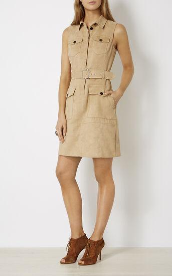 Karen Millen, FAUX-SUEDE SAFARI DRESS Camel 1