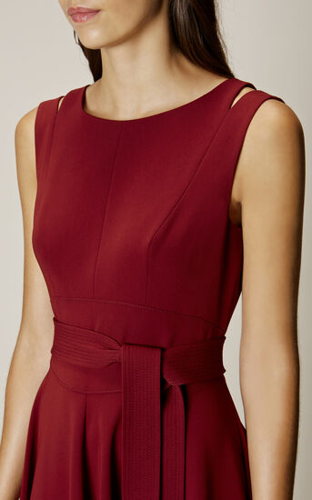 Karen Millen, CREPE MIDI DRESS Burgundy 4