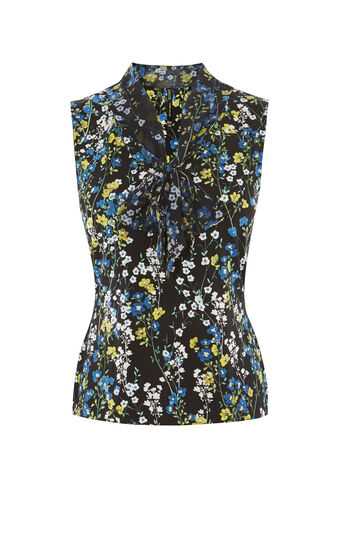 Karen Millen, TIE-NECK FLORAL TOP Black/Multi 0
