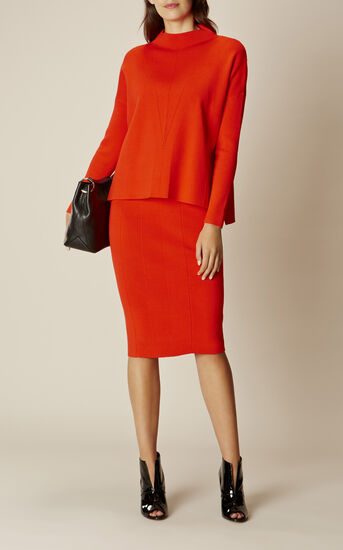 Karen Millen, RIBBED KNIT SKIRT Orange 1