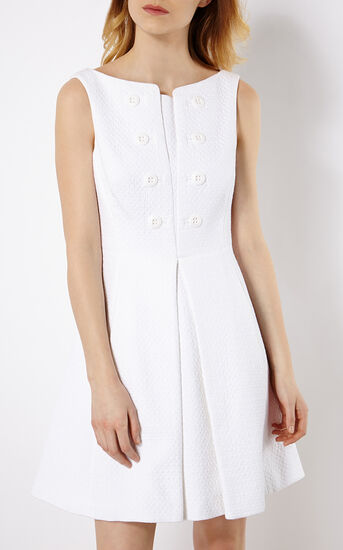 Karen Millen, BUTTON-DETAIL DRESS White 2