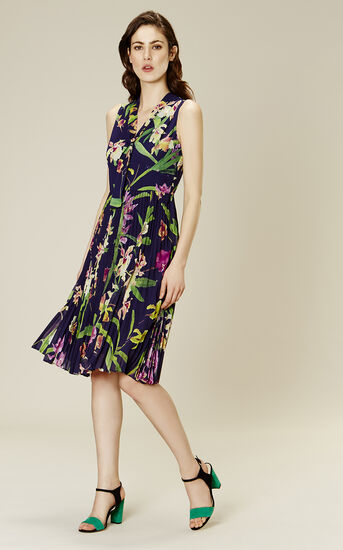Karen Millen, ORCHID-PRINT PLEATED DRESS Multicolour 1