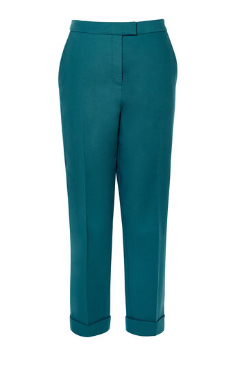 Karen Millen, TEAL CROPPED TAILORED TROUSER Teal 0