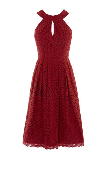 Karen Millen, KNOT-NECKLINE BRODERIE DRESS Burnt Orange 0