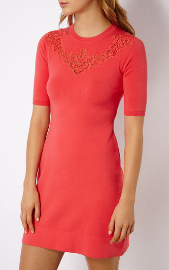 Karen Millen, LACE DETAIL KNIT DRESS Pink 2