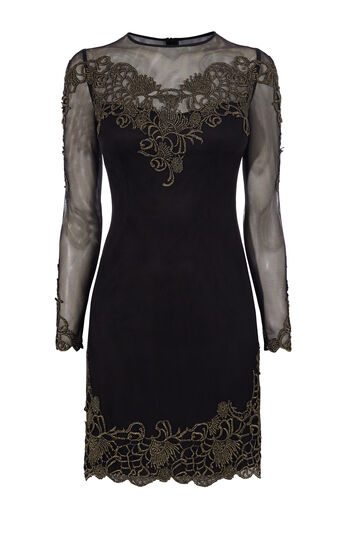 Karen Millen, EMBROIDERED MESH DRESS Black/Multi 0