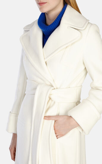 Karen Millen, WINTER WHITE LONG LINE BELTED Ivory 4