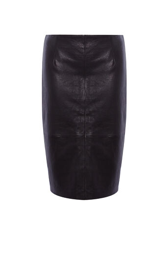 Karen Millen, LEATHER PENCIL SKIRT Black 0