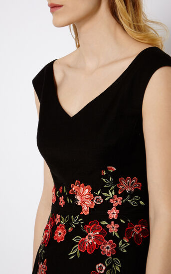 Karen Millen, FLORAL EMBROIDERY DRESS Black/Multi 4